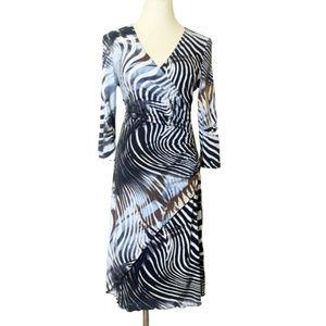 Joseph Ribkoff Dress Zebra Ruche 10 Style 000332